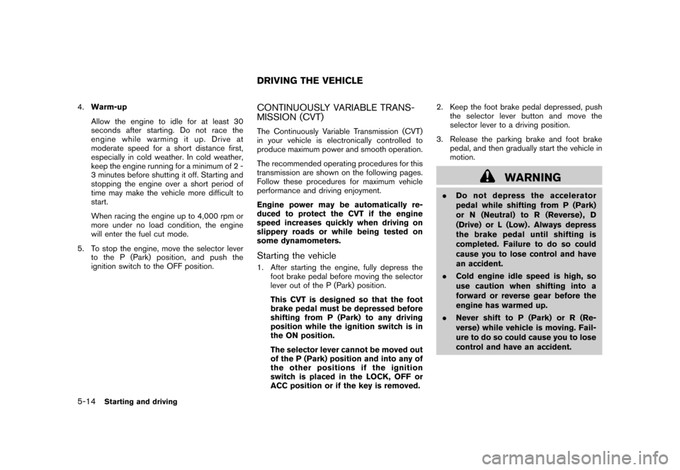 NISSAN CUBE 2011 3.G Owners Manual, Page 230