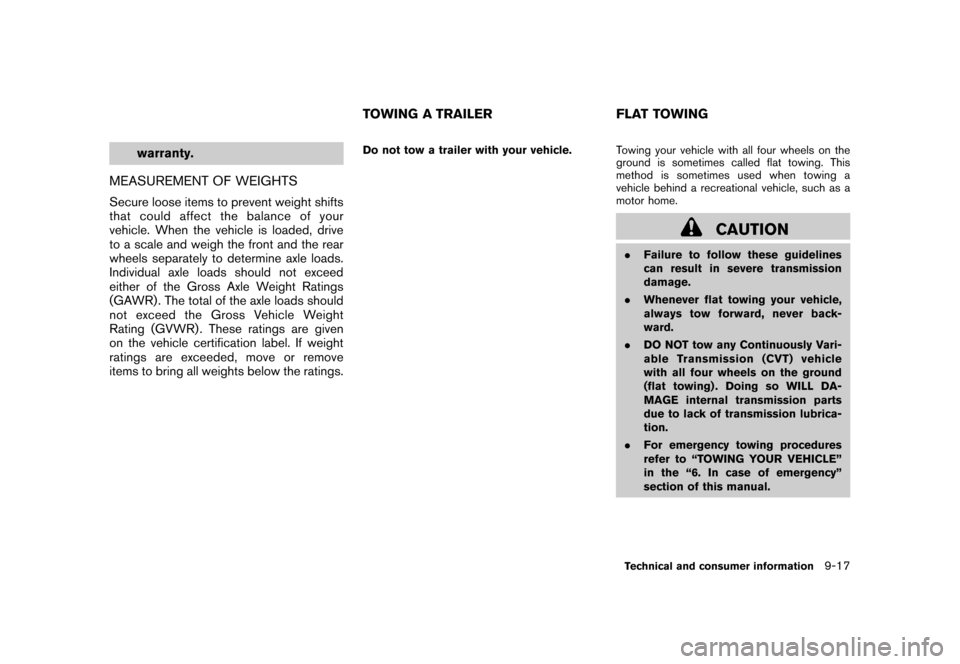 NISSAN CUBE 2011 3.G Owners Manual, Page 331
