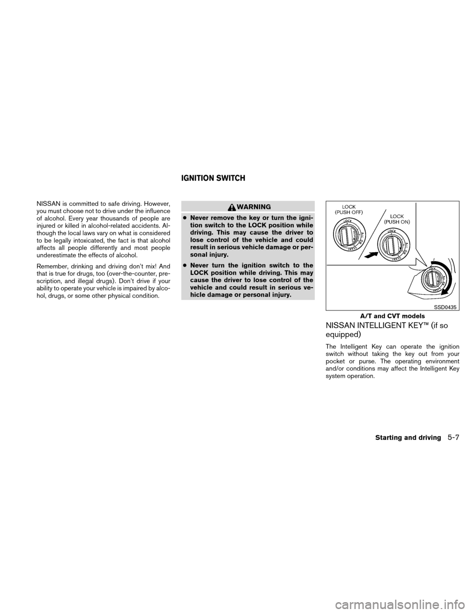 NISSAN VERSA HATCHBACK 2011 1.G Owners Manual, Page 224