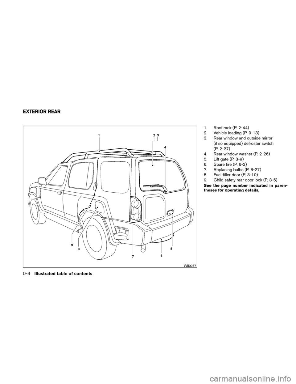 NISSAN XTERRA 2011 N50 / 2.G Owners Manual, Page 11