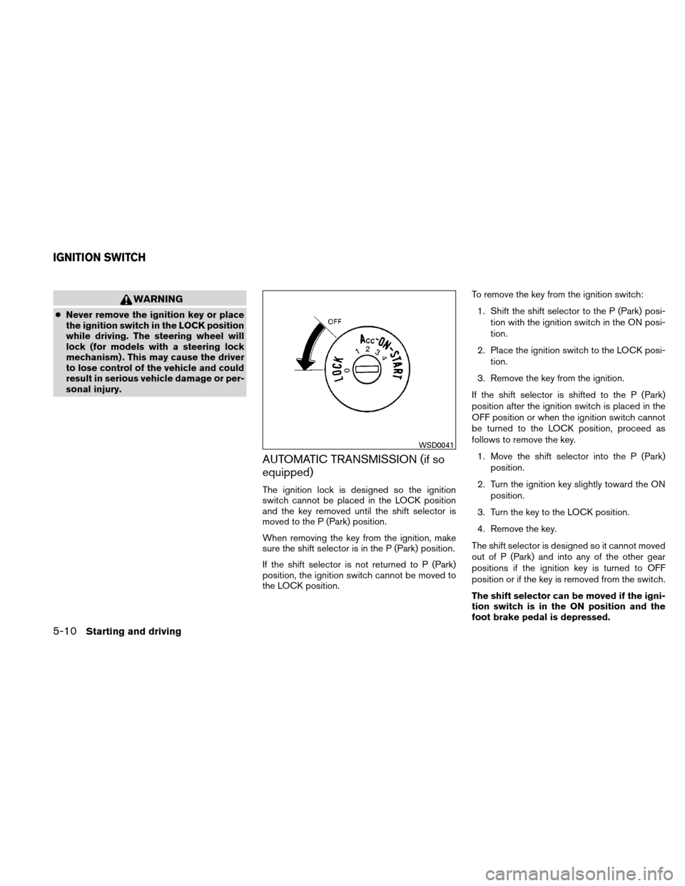 NISSAN XTERRA 2011 N50 / 2.G Owners Manual, Page 205