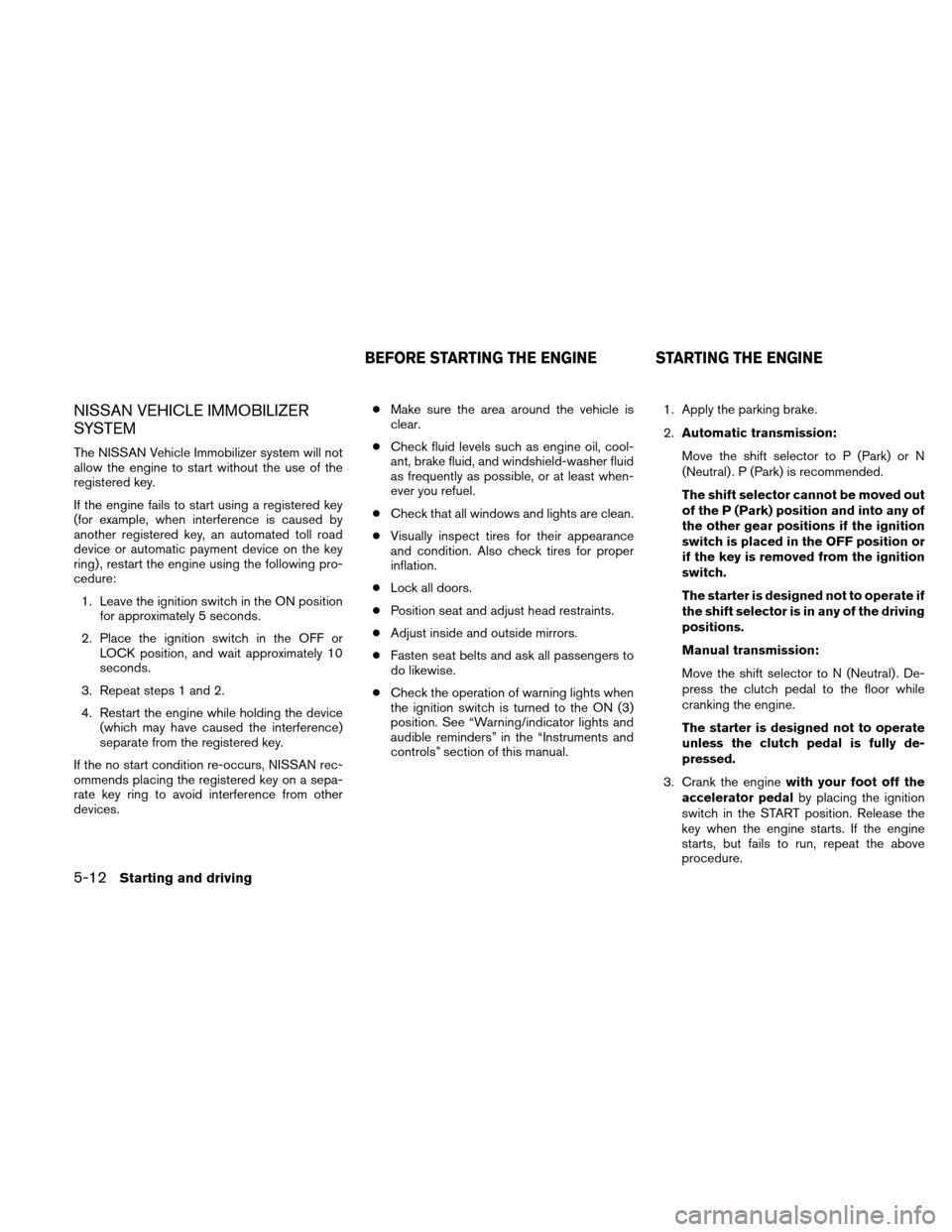 NISSAN XTERRA 2011 N50 / 2.G Owners Manual, Page 207