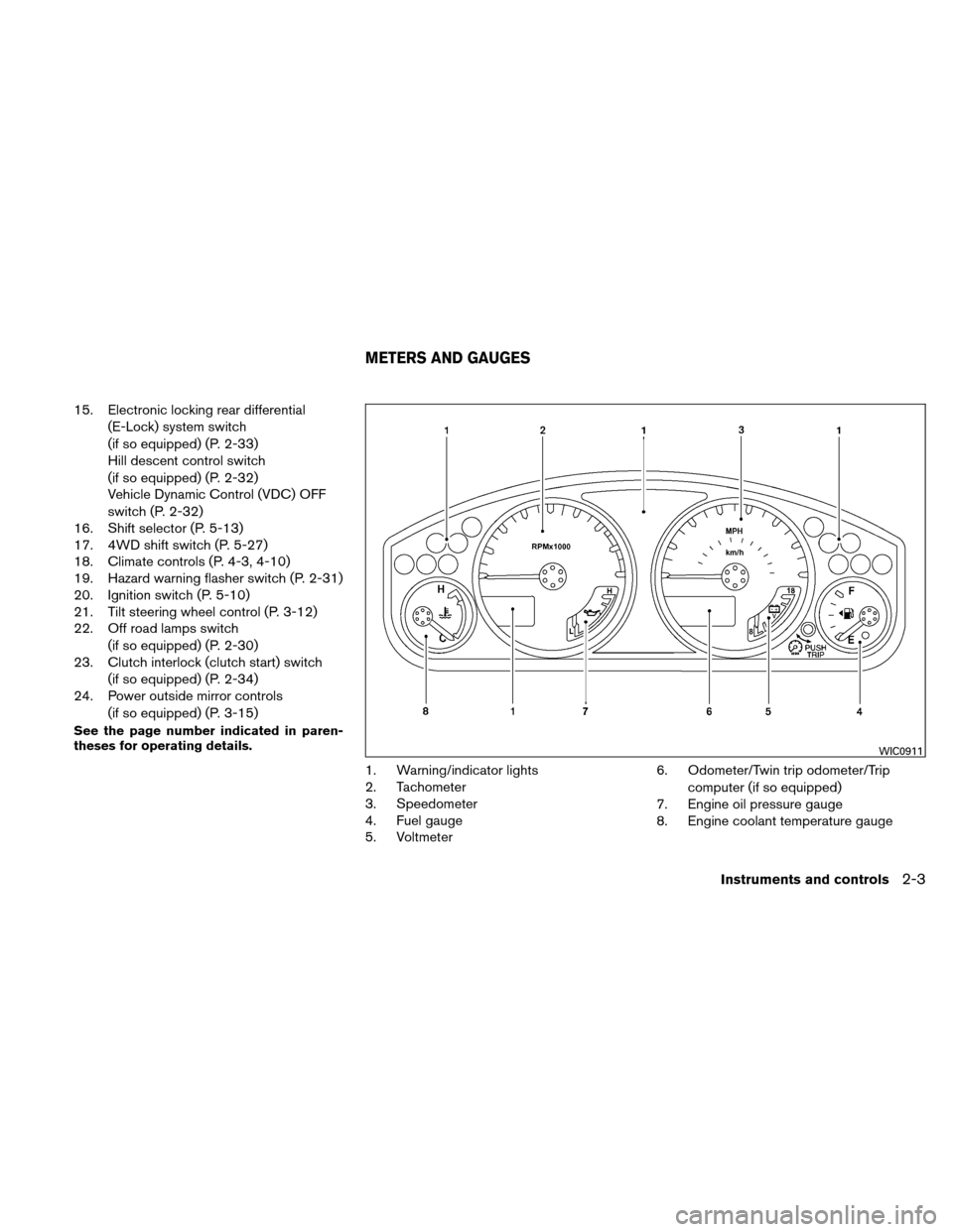 NISSAN XTERRA 2011 N50 / 2.G Owners Manual, Page 80