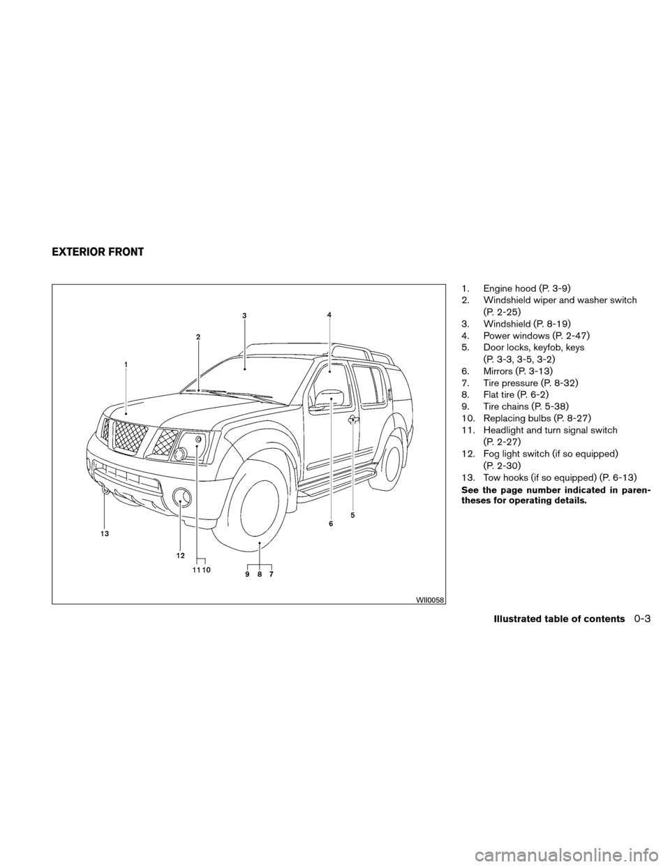 NISSAN XTERRA 2011 N50 / 2.G Owners Manual, Page 10