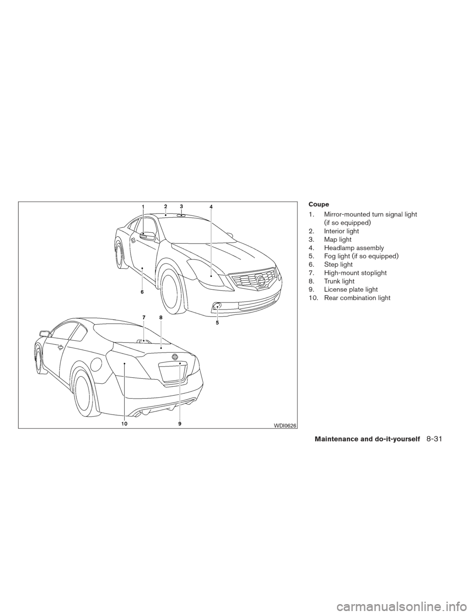 NISSAN ALTIMA COUPE 2012 D32 / 4.G Owners Manual, Page 398