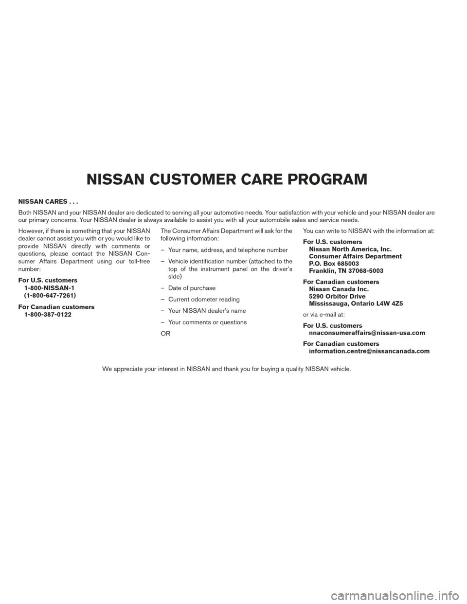 NISSAN ALTIMA COUPE 2012 D32 / 4.G Owners Manual, Page 5