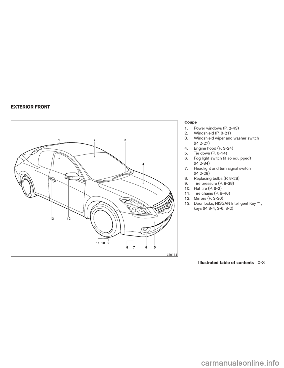 NISSAN ALTIMA COUPE 2012 D32 / 4.G Owners Manual, Page 10