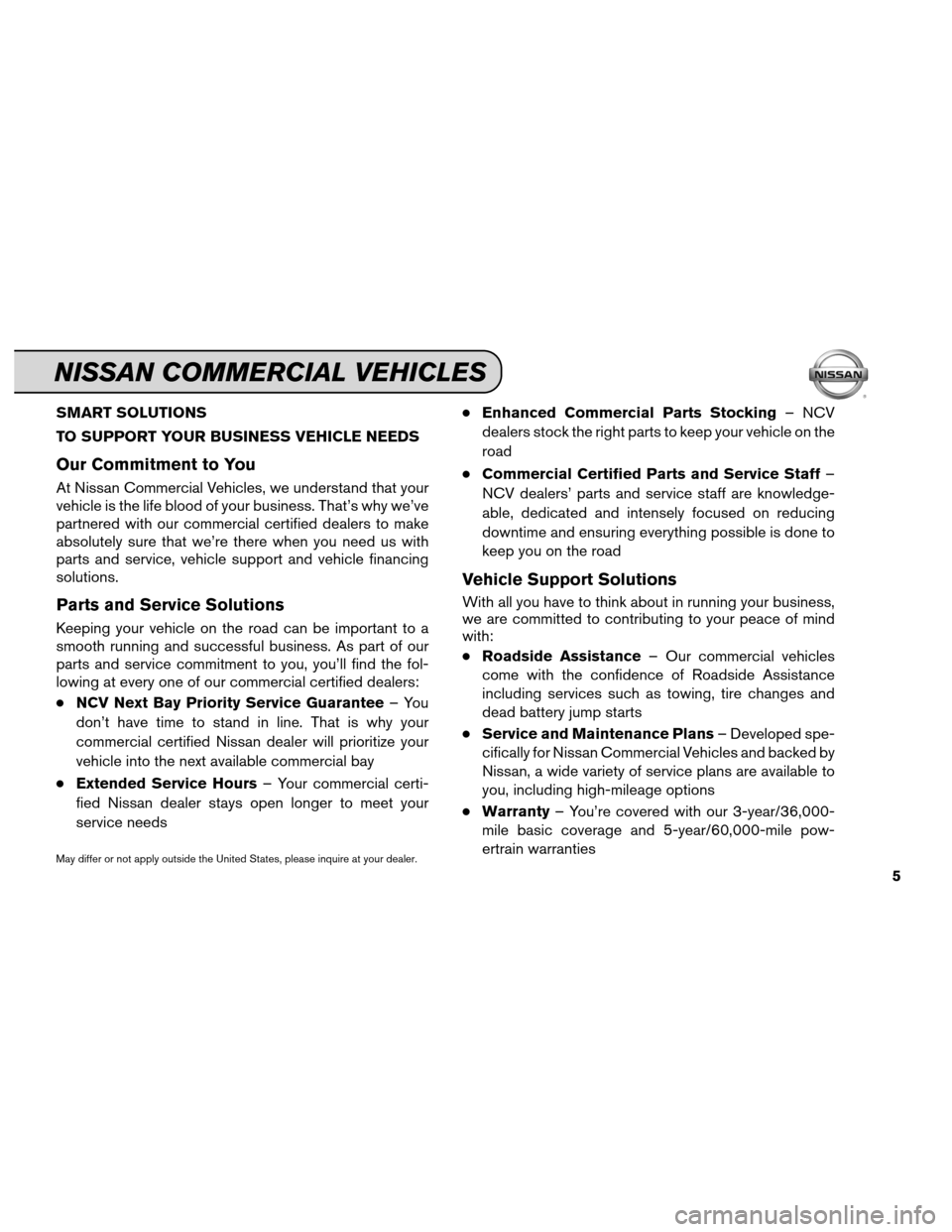 NISSAN VERSA 2012 1.G Service And Maintenance Guide SMART SOLUTIONS TO SUPPORT YOUR BUSINESS VEHICLE NEEDS Our Commitment to You At Nissan Commercial Vehicles, we understand that your vehicle is the life blood of your business. That's why we've par