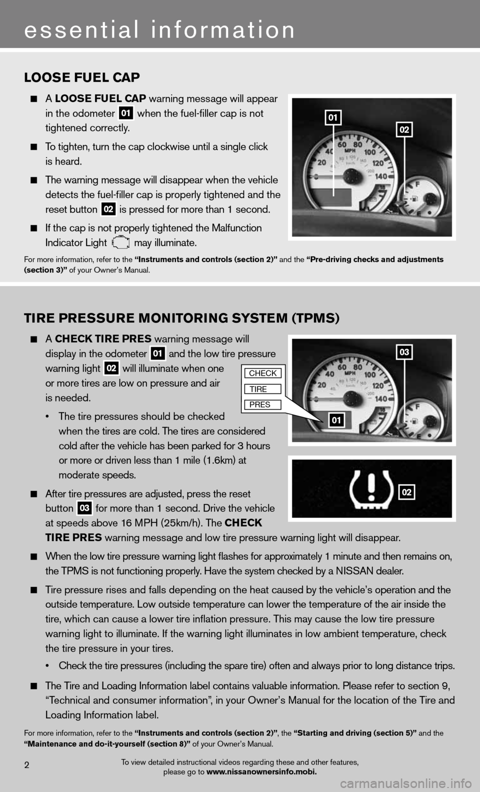 NISSAN XTERRA 2012 N50 / 2.G Quick Reference Guide 2 essential information 0201 03 01 loosE fuEl C aP   A  loos E fuEl CaP warning message will appear      in the odometer   01 when the fuel-filler cap is not      tightened correctly.     To tighten,