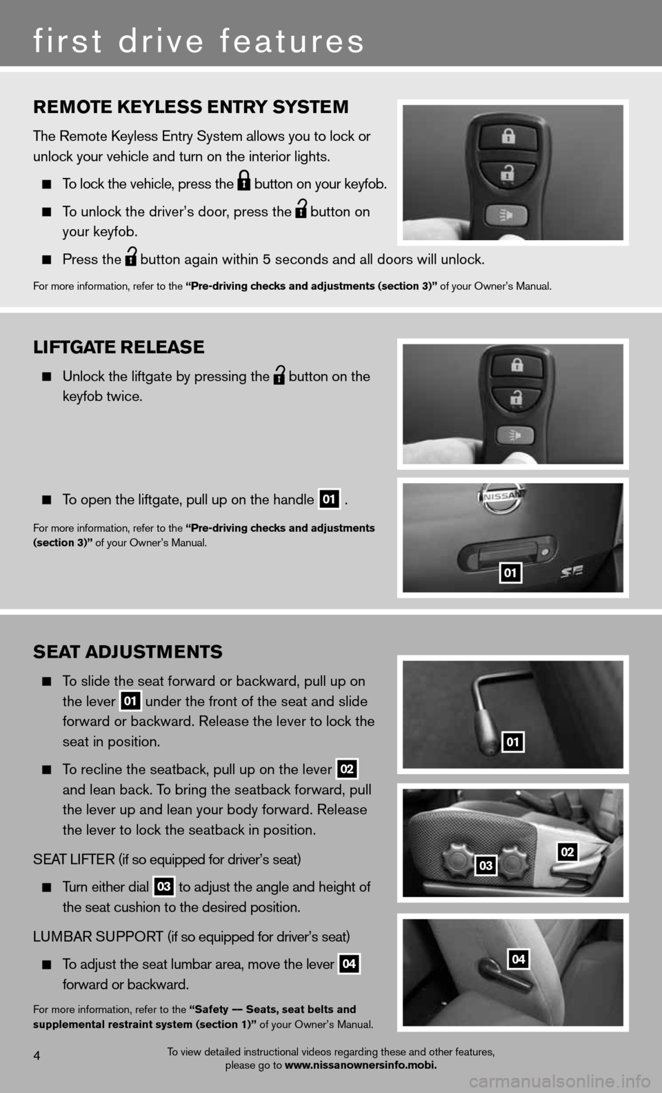 NISSAN XTERRA 2012 N50 / 2.G Quick Reference Guide rEmotE KEylE ss Entry systE m The Remote keyless entry System allows you to lock or  unlock your vehicle and turn on the interior lights.       To lock the vehicle, press the   button on your keyfob.