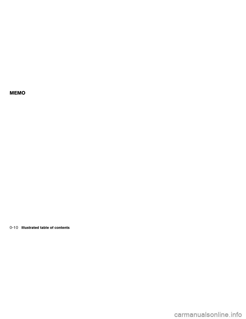 NISSAN ALTIMA COUPE 2013 D32 / 4.G User Guide MEMO 0-10Illustrated table of contents