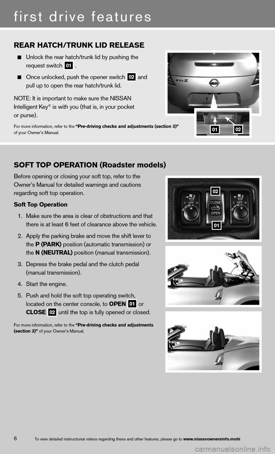 NISSAN 370Z COUPE 2013 Z34 Quick Reference Guide, Page 8