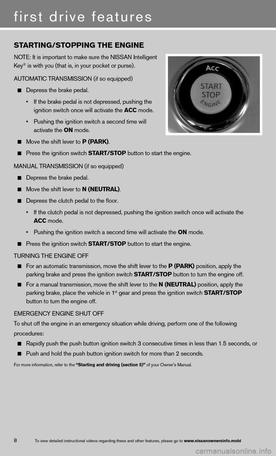 NISSAN 370Z COUPE 2013 Z34 Quick Reference Guide, Page 10