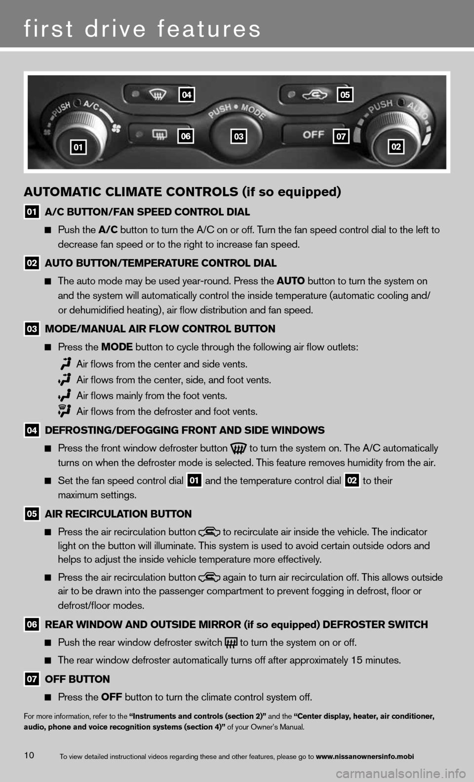 NISSAN 370Z ROADSTER 2013 Z34 Quick Reference Guide 10 \fUTOM\fTIC C\bIM\fTE CONTRO\bS (if so equipped) 01 \f/C BUTTON/F\fN SPEED CONTRO\b\F DI\f\b      Push \fhe \f/C bu\f\fon \fo \furn \fhe A\m/C on or off. \burn \fhe fan speed c\mon\frol dial \fo \f
