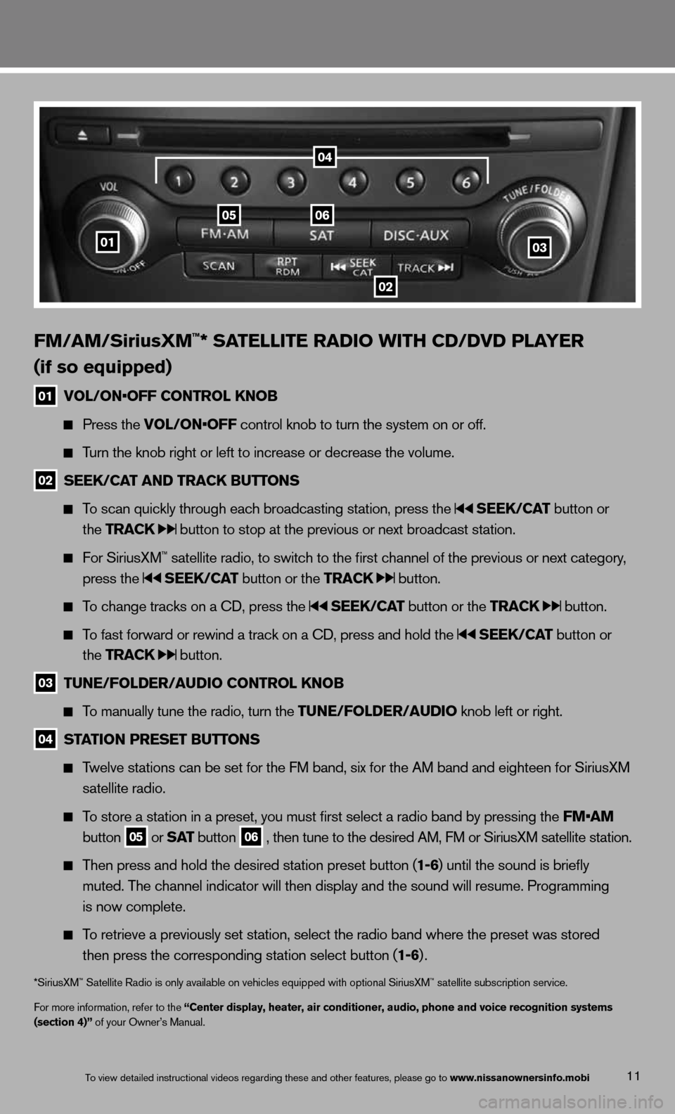 NISSAN 370Z ROADSTER 2013 Z34 Quick Reference Guide 11 FM/\fM/SiriusXM™* S\fTE\b\bITE R\fDIO WITH CD/\FDVD P\b\fYER  ( if so equipped) 01  VO\b/ON•OFF CONTRO\b kNOB      Press \fhe VO\b/ON•OFF con\frol knob \fo \fur\mn \fhe sys\fem on or o\mff.