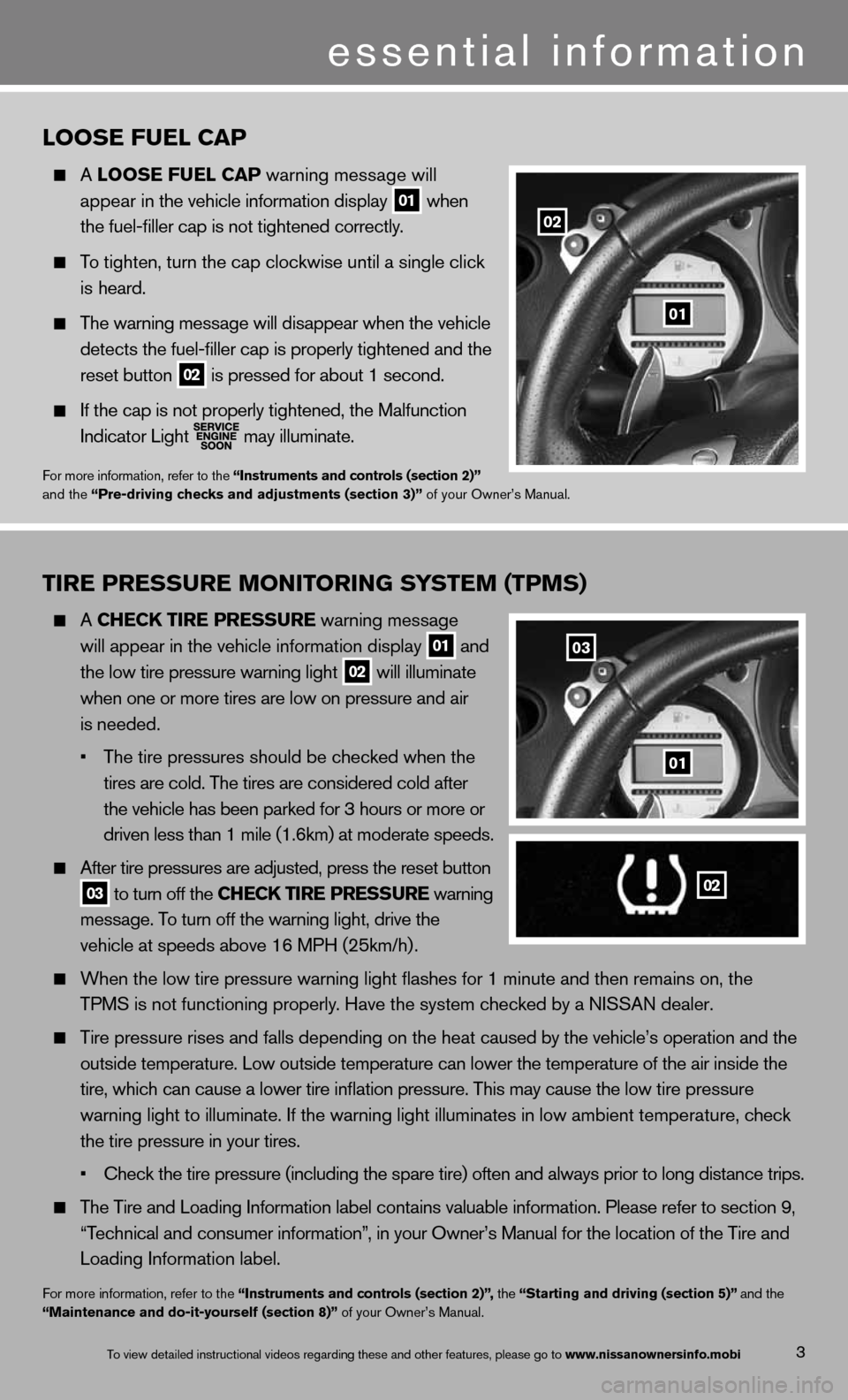 NISSAN 370Z ROADSTER 2013 Z34 Quick Reference Guide 3 TIRE PRESSURE MONITORING SYSTEM (TPMS)   A CHECk TIRE PRESSURE warning message      will  appear in \fhe vehic\mle informa\fion disp\mlay  01 and      \fhe low \fire pressu\mre warning ligh\f 02 wil