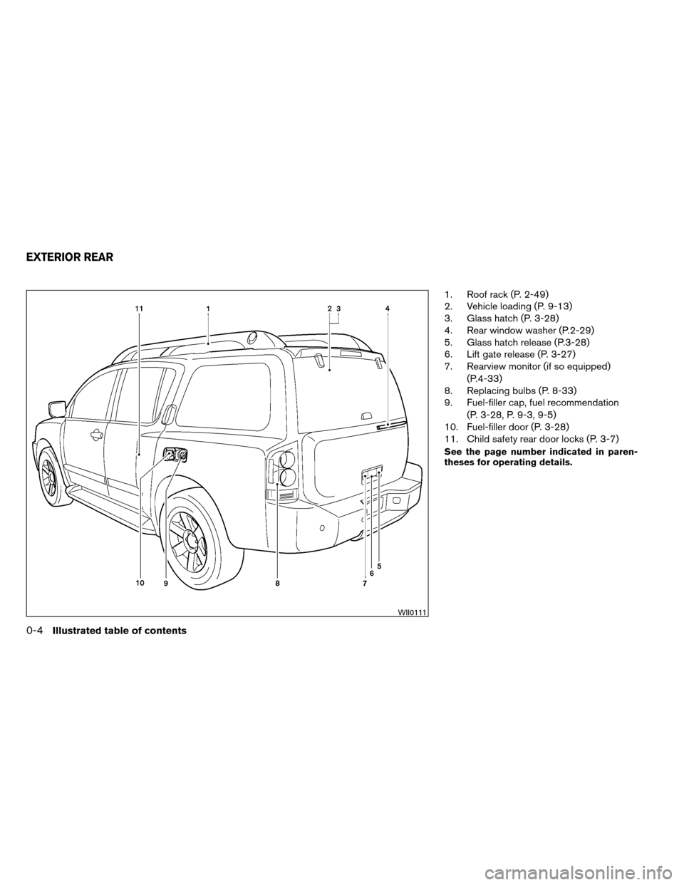 NISSAN ARMADA 2013 1.G Owners Manual 1. Roof rack (P. 2-49) 2. Vehicle loading (P. 9-13) 3. Glass hatch (P. 3-28) 4. Rear window washer (P.2-29) 5. Glass hatch release (P.3-28) 6. Lift gate release (P. 3-27) 7. Rearview monitor (if so eq