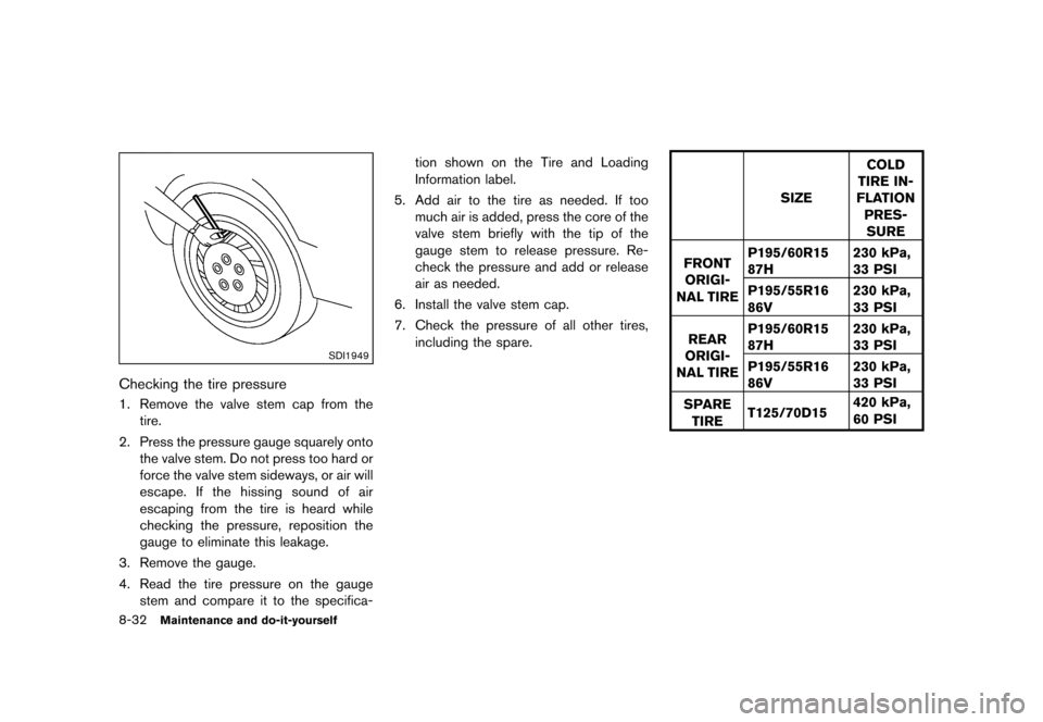 NISSAN CUBE 2013 3.G Owners Manual Black plate (292,1) [ Edit: 2012/ 7/ 19 Model: Z12-D ] 8-32Maintenance and do-it-yourself SDI1949 Checking the tire pressureGUID-76212681-CF50-4650-94C5-AAA1A98A87B61. Remove the valve stem cap from t