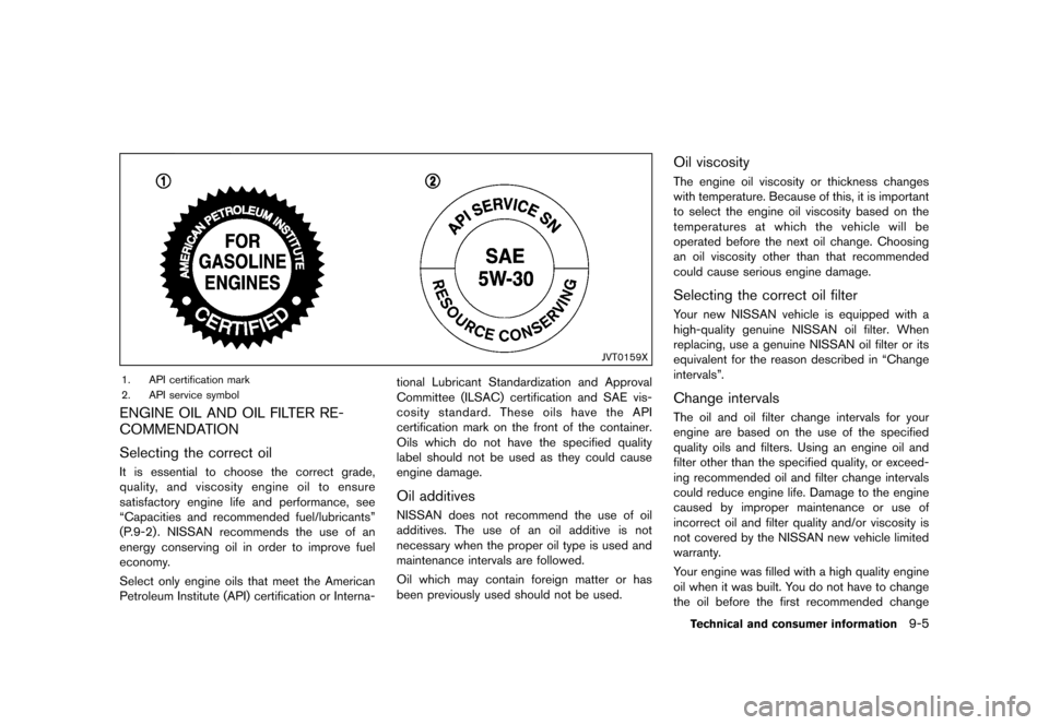 NISSAN CUBE 2013 3.G Owners Manual Black plate (305,1) [ Edit: 2012/ 7/ 19 Model: Z12-D ] JVT0159X 1. API certification mark 2. API service symbol ENGINE OIL AND OIL FILTER RE- COMMENDATION GUID-8FDD6189-FF56-4C9F-BCE1-5715B8DB6D1E Sel