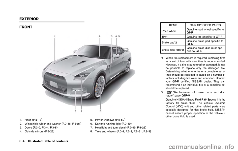 NISSAN GT-R 2013 R35 Owners Manual 0-4Illustrated table of contents FRONT 1. Hood (P.3-18) 2. Windshield wiper and washer (P.2-46, P.8-21) 3. Doors (P.3-2, P.3-4, P.3-8) 4. Outside mirrors (P.3-28)5. Power windows (P.2-59) 6. Daytime r