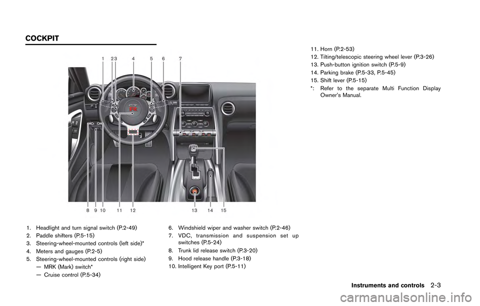 NISSAN GT-R 2013 R35 Owners Manual 1. Headlight and turn signal switch (P.2-49) 2. Paddle shifters (P.5-15) 3. Steering-wheel-mounted controls (left side)* 4. Meters and gauges (P.2-5) 5. Steering-wheel-mounted controls (right side)—