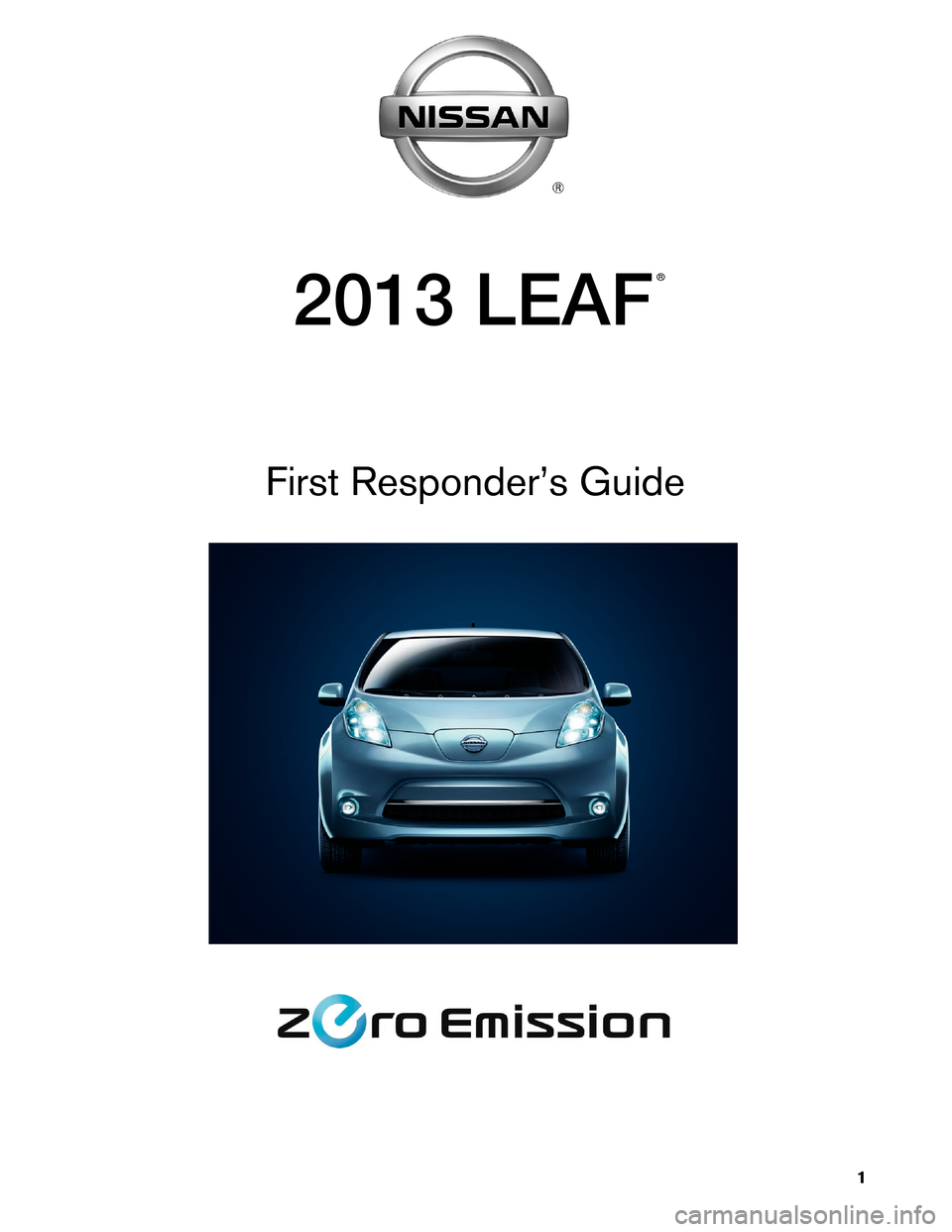 NISSAN LEAF 2013 1.G First Responders Guide, Page 1