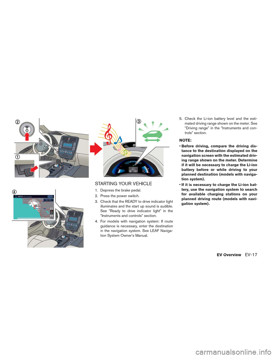 NISSAN LEAF 2013 1.G Owners Guide STARTING YOUR VEHICLE 1. Depress the brake pedal. 2. Press the power switch. 3. Check that the READY to drive indicator lightilluminates and the start up sound is audible. See Ready to drive indicato