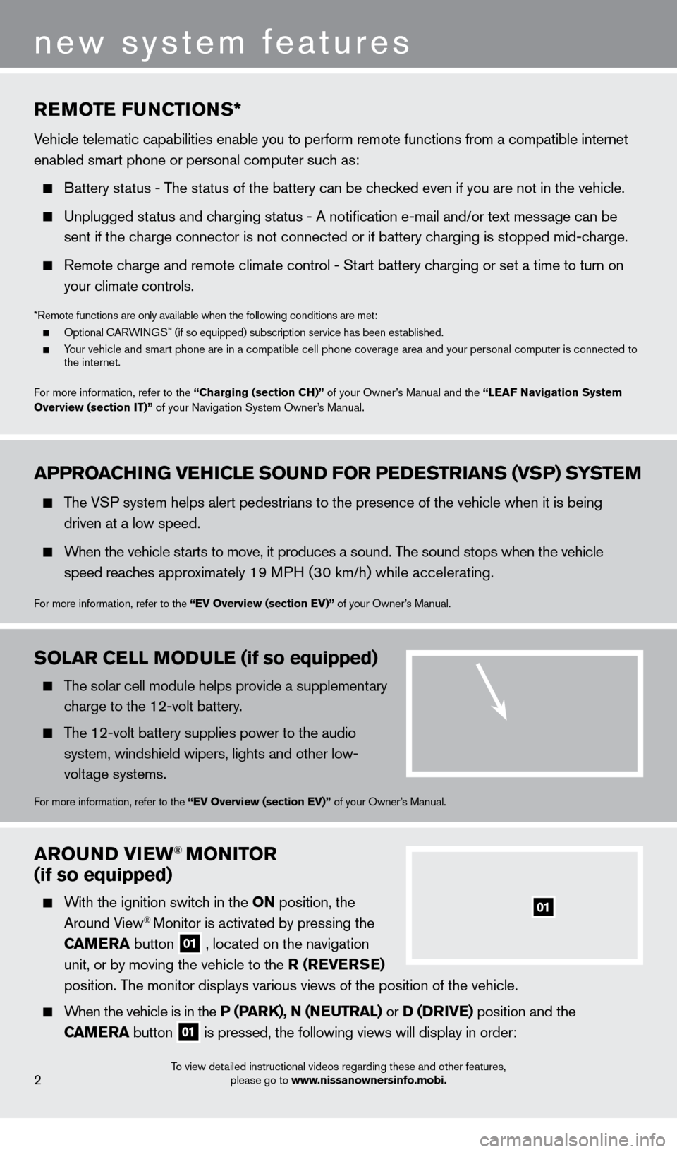 NISSAN LEAF 2013 1.G Quick Reference Guide arOuND VIew® MONITOr   (if so equipped)     With the ignition switch in the ON position, the  Around View® Monitor is activated by pressing the  C a  M e  ra   button   01 , located on the navigatio