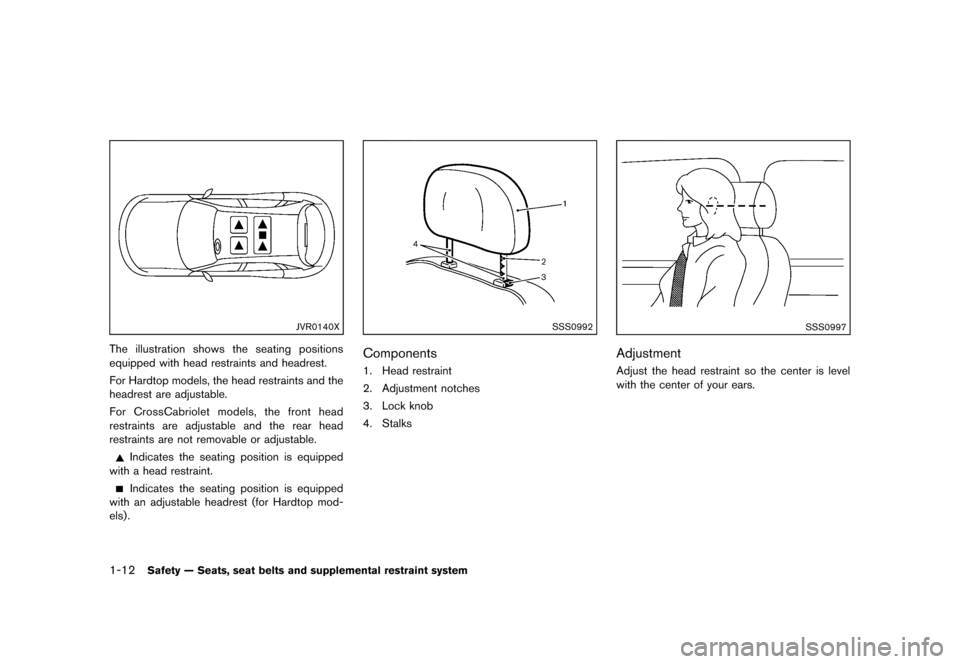 NISSAN MURANO 2013 2.G Owners Guide Black plate (34,1) [ Edit: 2012/ 7/ 31 Model: Z51-D ] 1-12Safety — Seats, seat belts and supplemental restraint system JVR0140X The illustration shows the seating positions equipped with head restra
