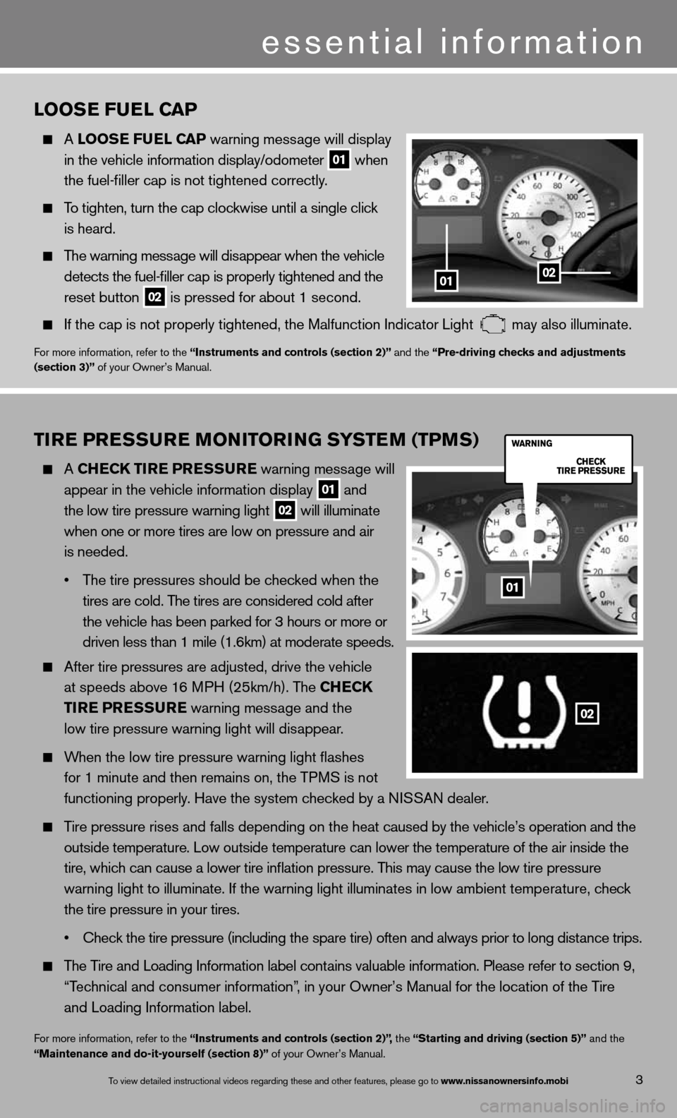 NISSAN TITAN 2013 1.G Quick Reference Guide TIRE PRESSURE MONITORING SYSTEM (TPMS)   A ChEC k TIRE  PRESSURE  warning message will      appear in the vehicle information display  01 and      the low tire pressure warning light 02 will illuminat