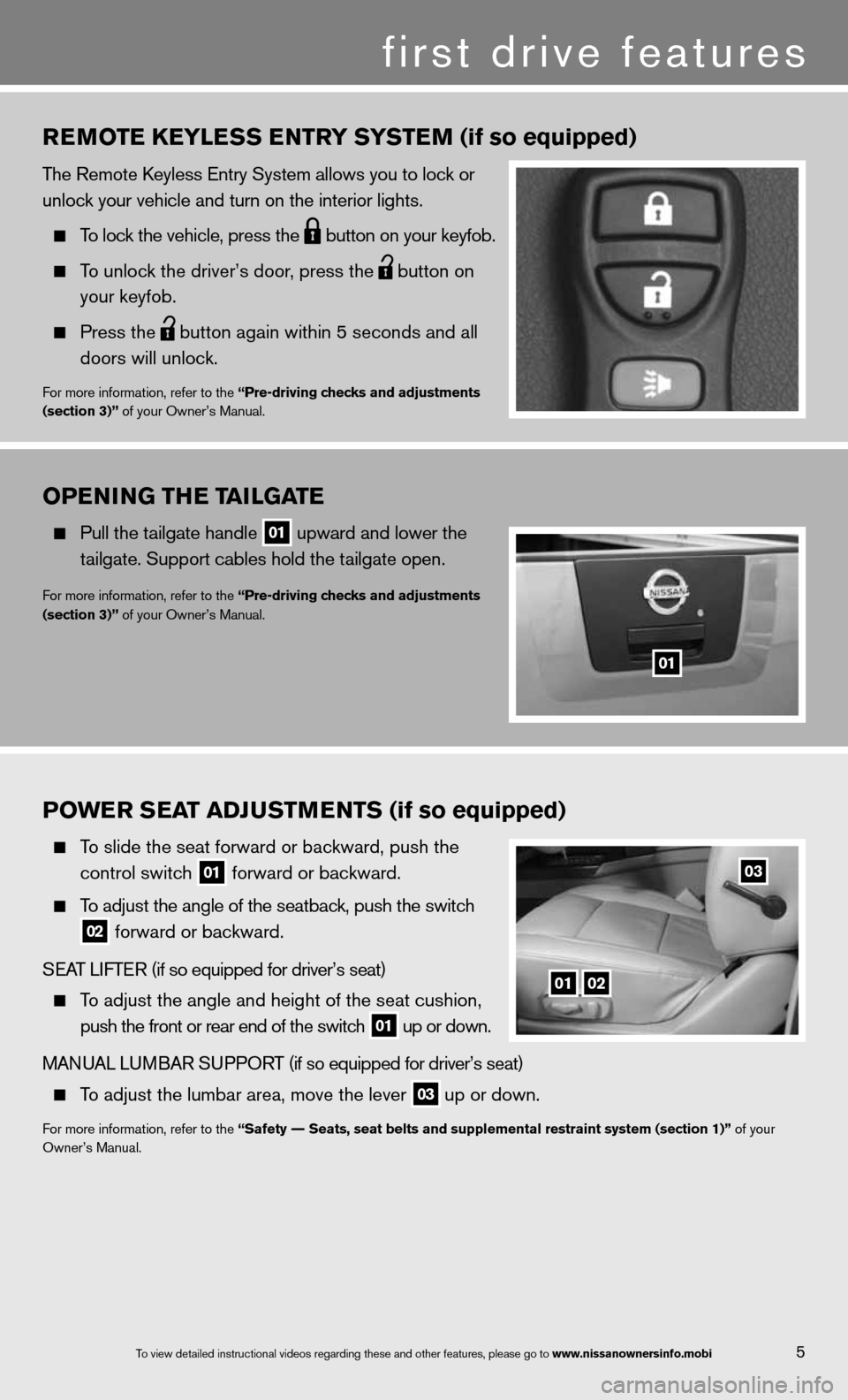 "NISSAN TITAN 2013 1.G Quick Reference Guide OPENING ThE TAILGATE   Pull the tailgate handle  01 upward and lower the      tailgate. Support cables hold the tailgate open. for more information, refer to the ""Pre-driving checks and adjustments"