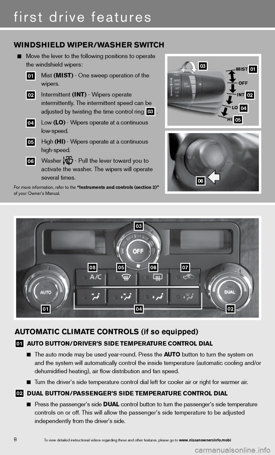 NISSAN TITAN 2013 1.G Quick Reference Guide AUTOMATIC CLIMATE CONTROLS (if so equipped) 01 AUTO BUTTON/DRIvER'S SIDE TEMPERATURE CONTROL DIAL      The auto mode may be used year-round. Press the AUTO  button to turn the system on         and