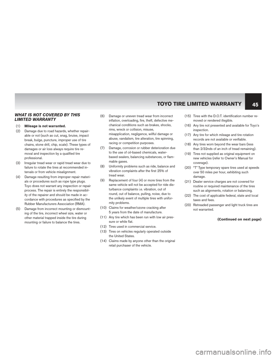 NISSAN QUEST 2014 RE52 / 4.G Warranty Booklet, Page 49