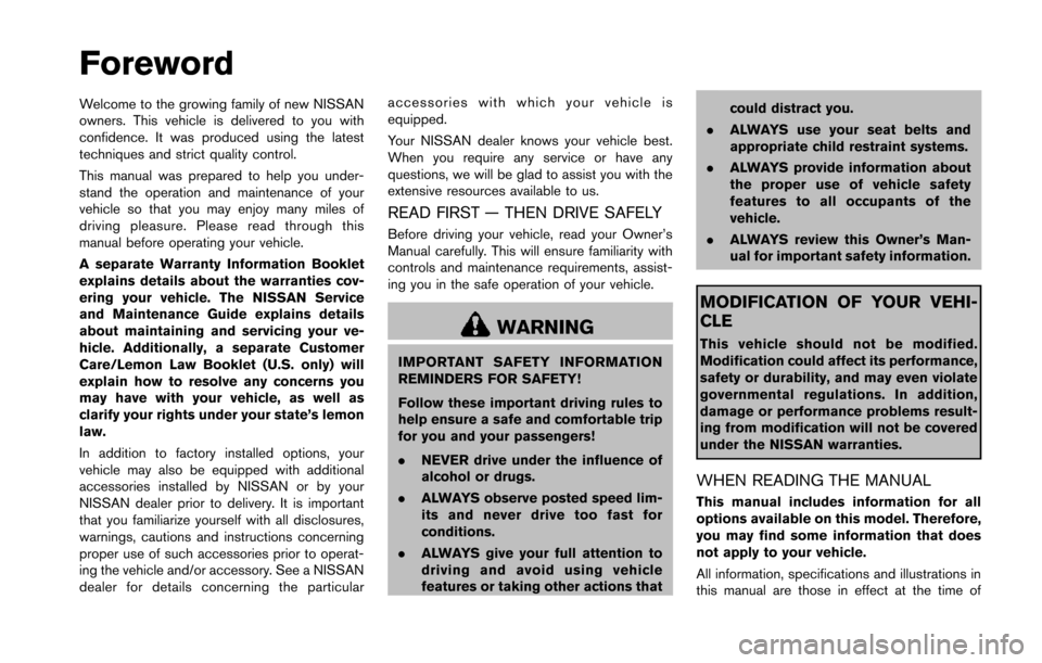 NISSAN 370Z COUPE 2014 Z34 Owners Manual, Page 2