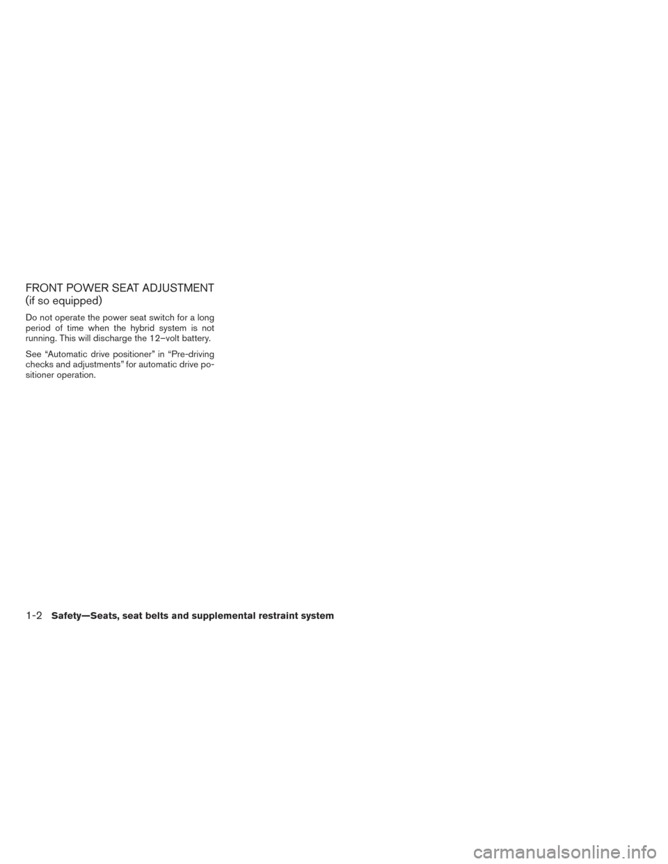 NISSAN PATHFINDER HYBRID 2014 R52 / 4.G Owners Manual, Page 27