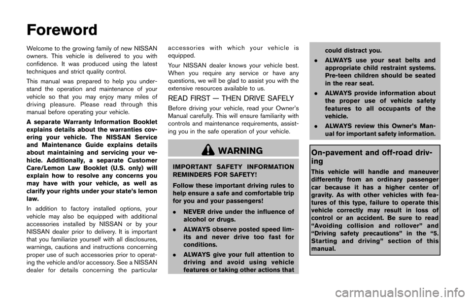 NISSAN JUKE 2015 F15 / 1.G Owners Manual, Page 2