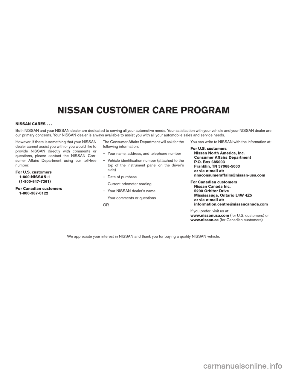 Nissan Sentra Owners Manual: Nissan Customer care program