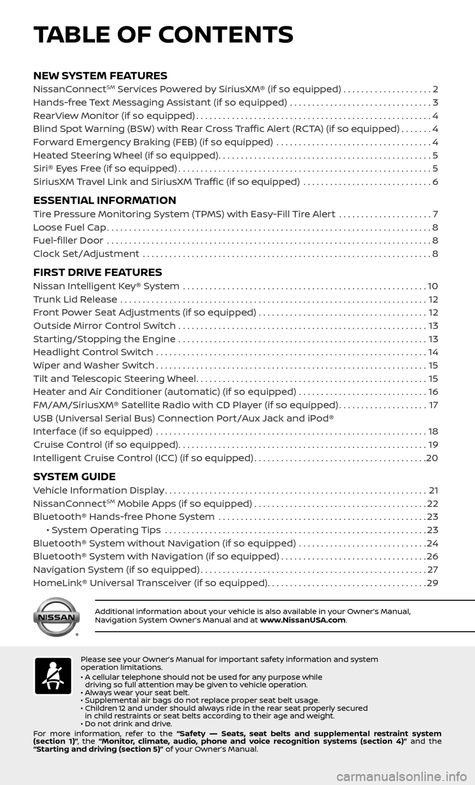NISSAN ALTIMA 2017 L33 / 5.G Quick Reference Guide, Page 3
