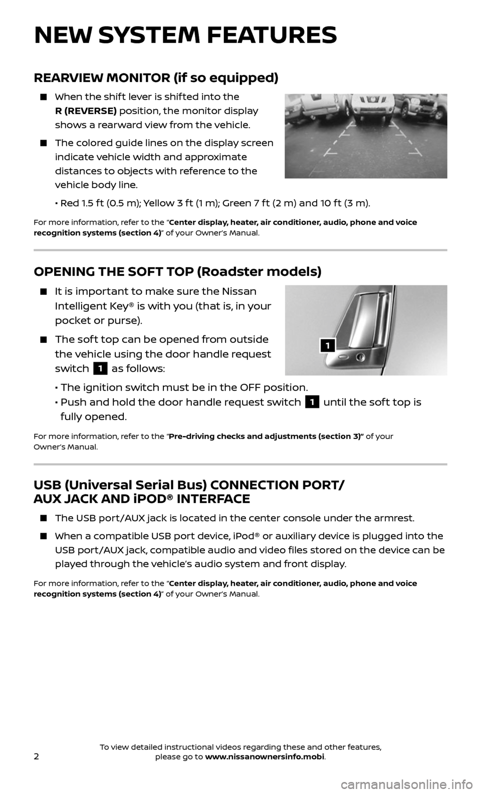 NISSAN 370Z ROADSTER 2017 Z34 Quick Reference Guide, Page 4