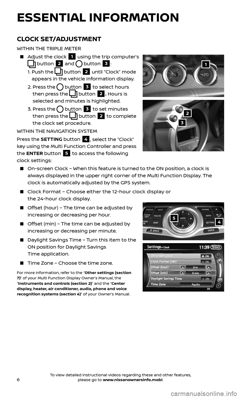 NISSAN 370Z ROADSTER 2017 Z34 Quick Reference Guide, Page 8