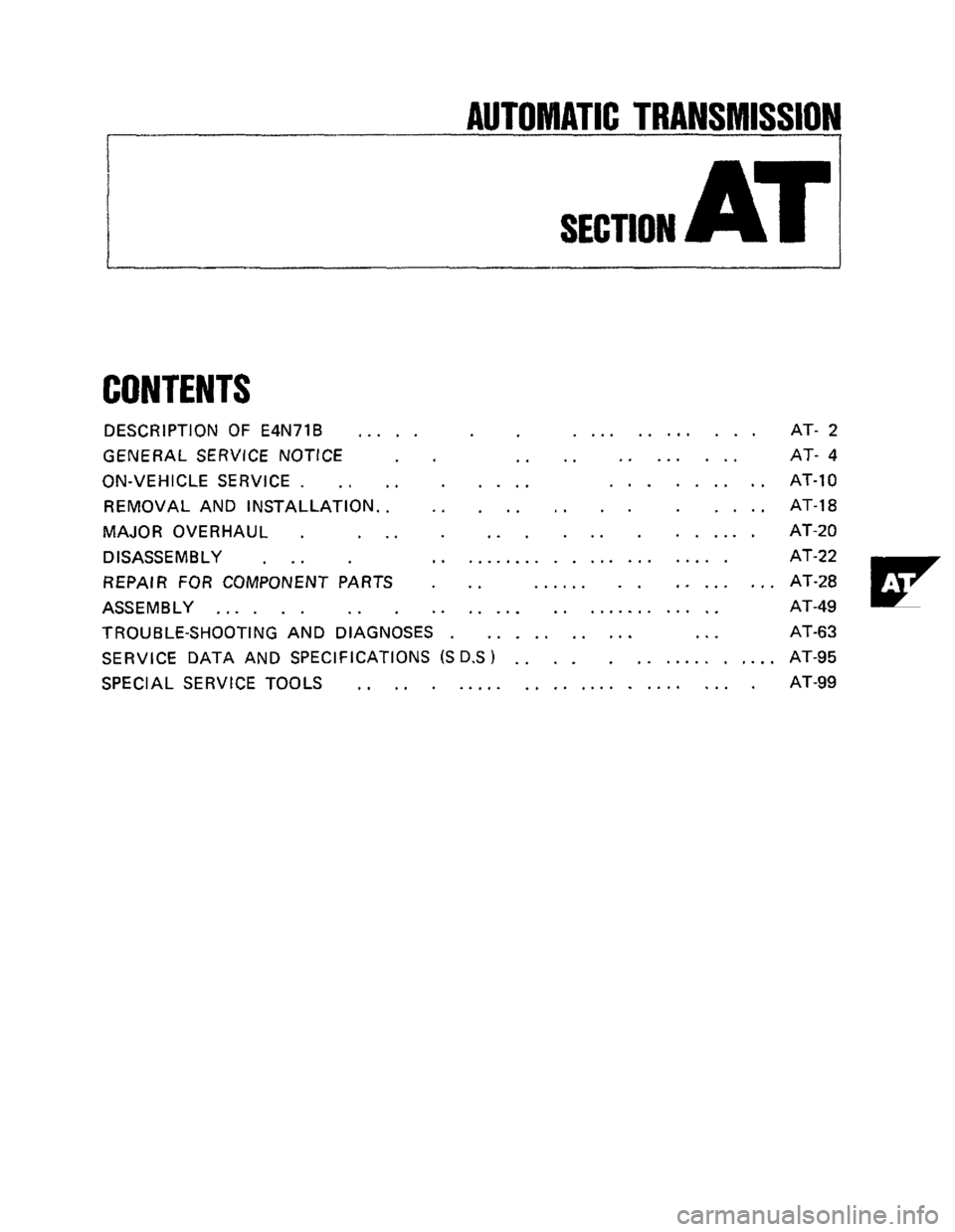 NISSAN 300ZX 1984 Z31 Automatic Transmission Workshop Manual, Page 1