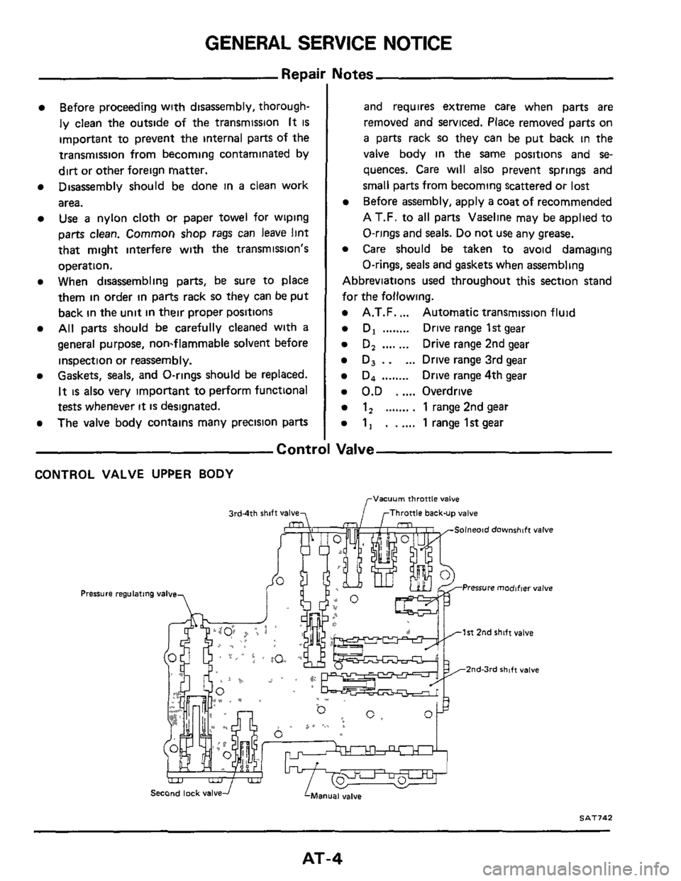 NISSAN 300ZX 1984 Z31 Automatic Transmission Workshop Manual, Page 4
