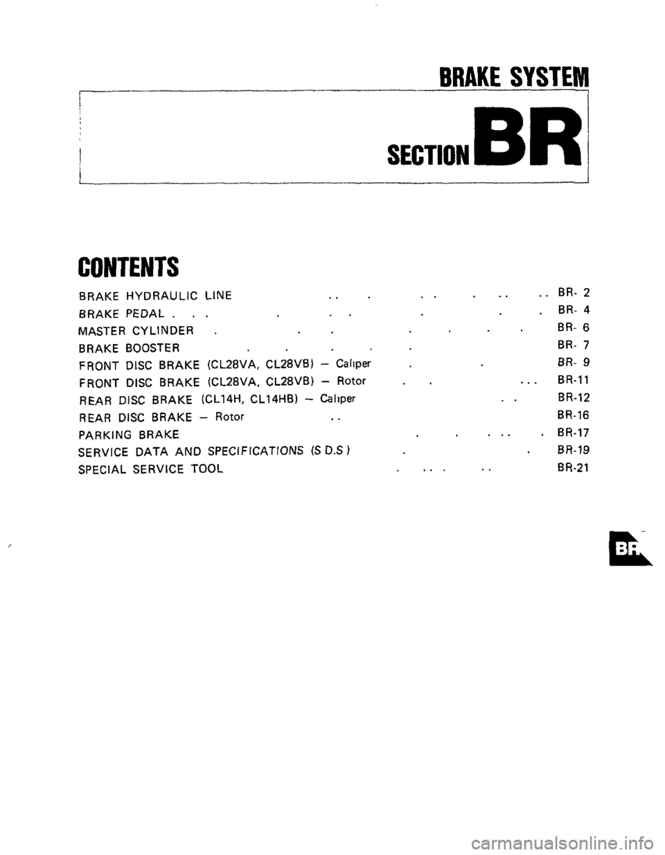 NISSAN 300ZX 1984 Z31 Brake System Workshop Manual, Page 1