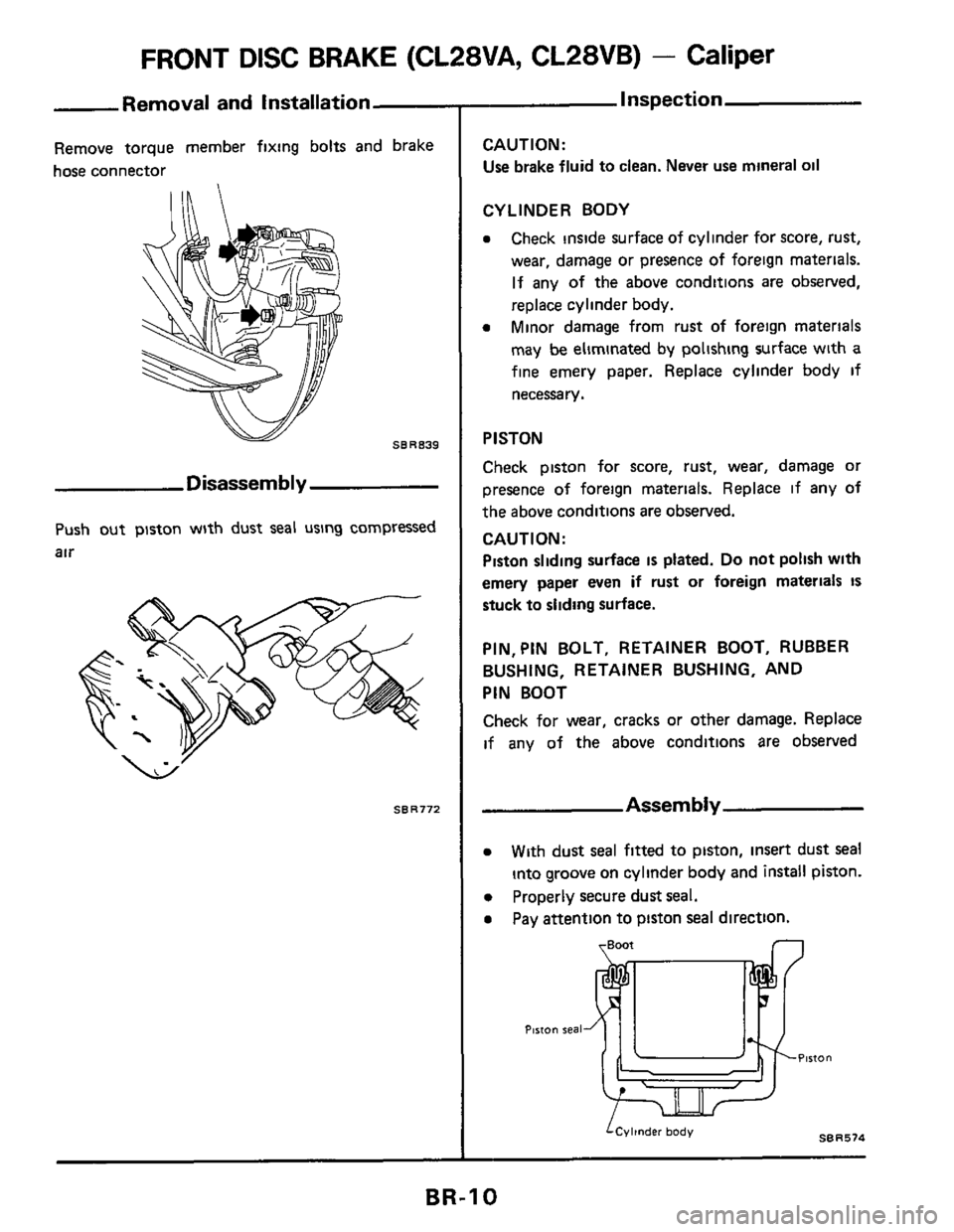 NISSAN 300ZX 1984 Z31 Brake System Workshop Manual, Page 10