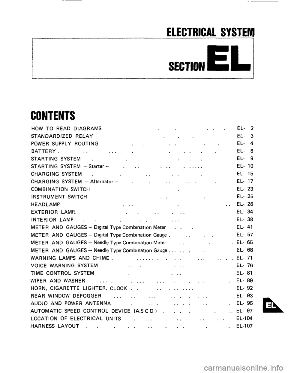 NISSAN 300ZX 1984 Z31 Electrical System Workshop Manual, Page 1