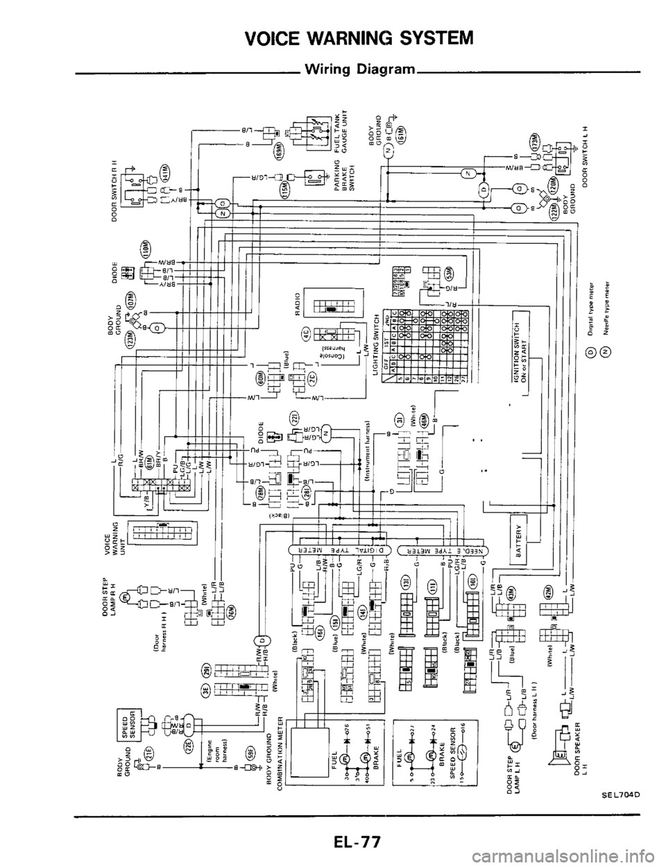 nissan 300zx 1984 z31 electrical system workshop manual, page 77