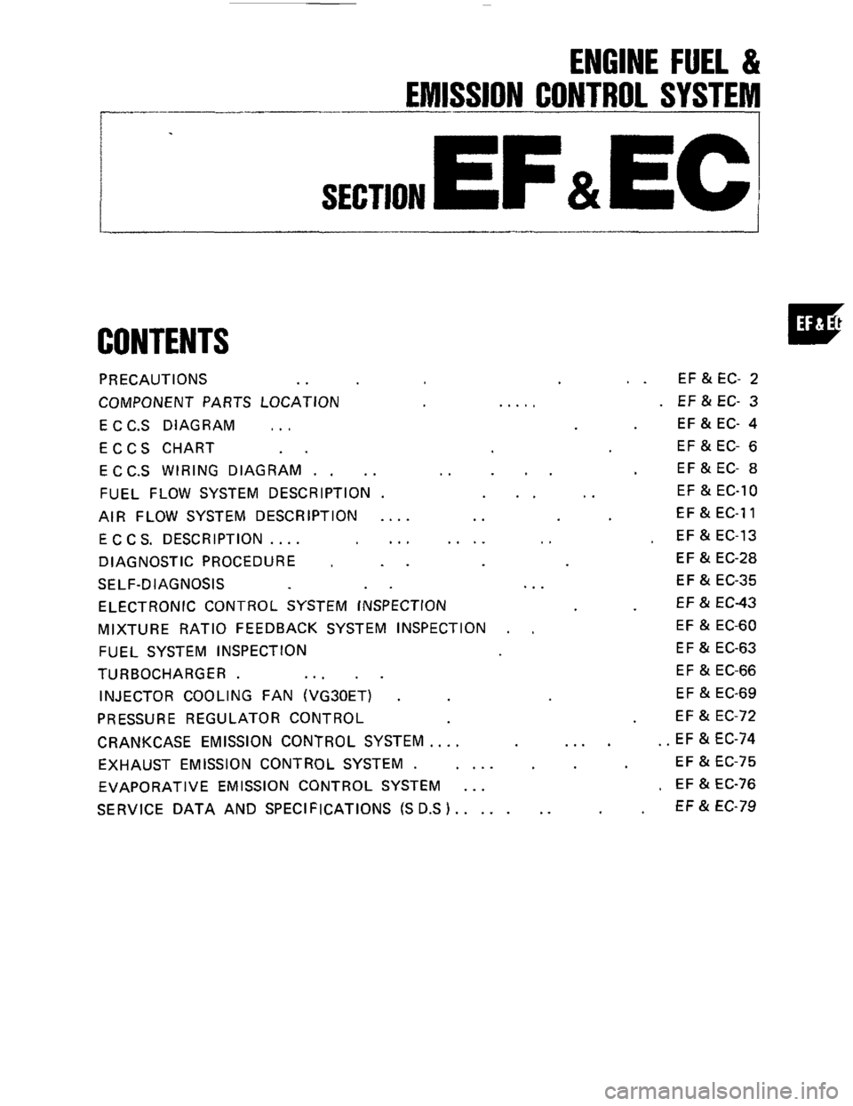 Nissan 300zx 1984 Z31 Engine Fuel And Emission Control System Subaru Wiring Diagram Workshop Manual