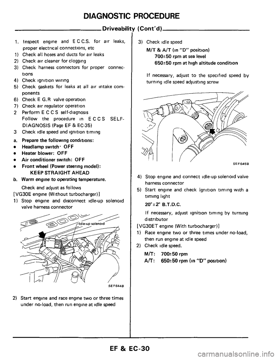 Check Engine Nissan 300zx 1984 Z31 Fuel And Emission Control Wiring Harness System Workshop Manual Page 30