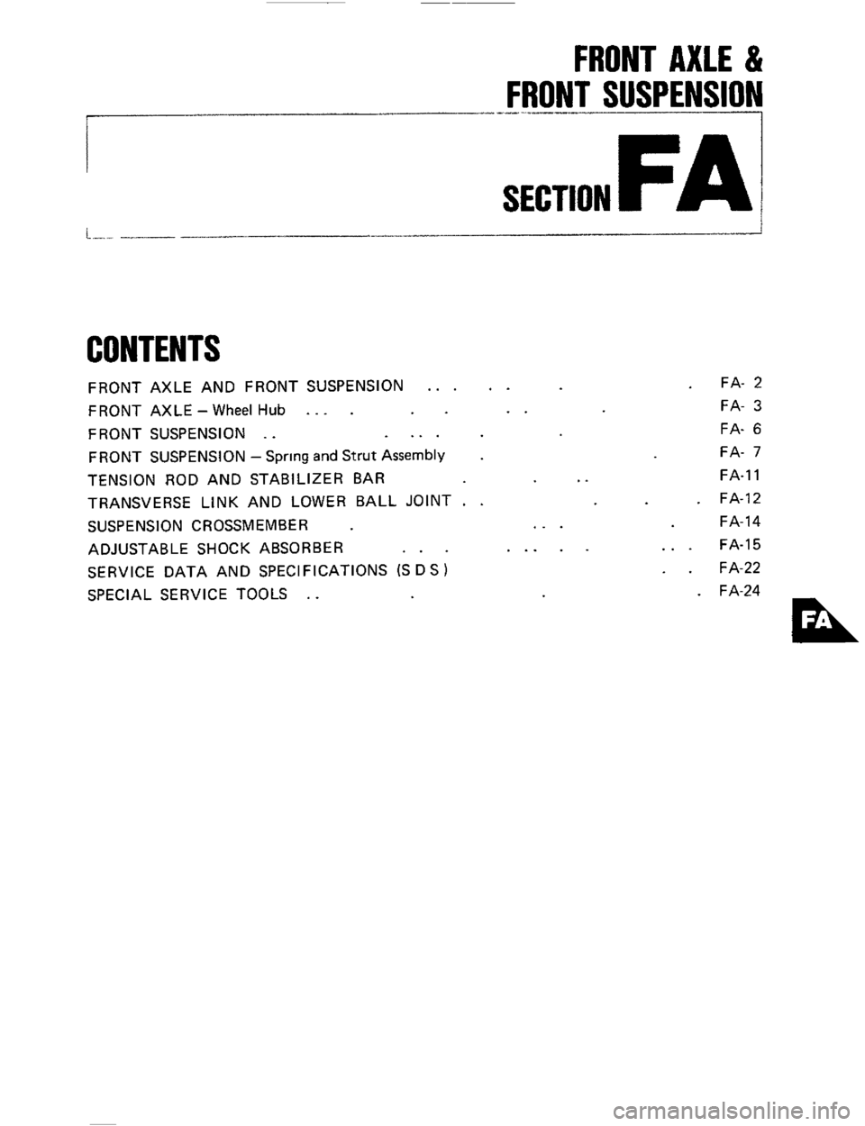 NISSAN 300ZX 1984 Z31 Front Suspension Workshop Manual, Page 1