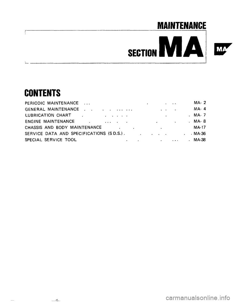 NISSAN 300ZX 1984 Z31 Maintenance Workshop Manual, Page 1